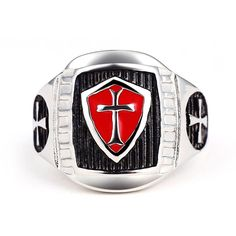 Stainless Steel Crusader Shield Knights Templar Ring