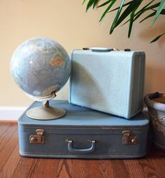 Vintage Luggage / Turquoise Suitcase / Travel / Wedding Decor / Photo Prop / Mid Century / Storage Box