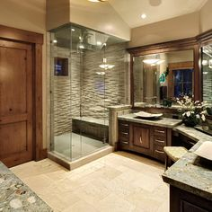 Traditional Bathroom Design, Pictures, Remodel, Decor and Ideas - i absolutely love this look for a master bathroom Dream Bathrooms, Beautiful Bathrooms, Master Bathrooms, Modern Bathroom, Wood Bathroom, Bathroom Cabinets, Bathroom Furniture, Bathroom Interior, Small Bathroom