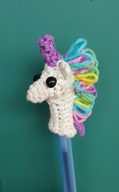 Used option A - Sew Muzzle onto the Base. I used safety eyes instead of yarn. Placing the eyes in the muzzle and then trying to sew into place proved to be quite difficult and resulted in a missh. Yarn Crafts, Sewing Crafts, Pencil Topper Crafts, Pen Toppers, Finger Puppet Patterns, Knitting Patterns, Crochet Patterns, Crochet Unicorn, Crochet Bookmarks