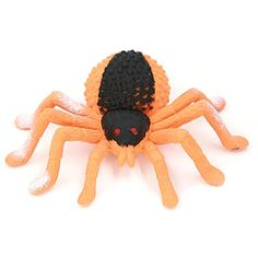 Halloween Decoration4inch Black Spider toyjumping spiderFood Grade Material TPR Super StretchyZoo World Gag Gift Practical Jokes Props Realistic Rubber Spider -- See this great product.