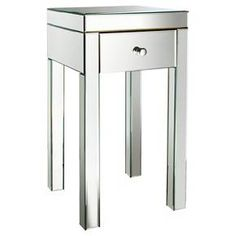"""Mirrored Glass Accent Table with Drawer 25"""" - Threshold™ : Target"""