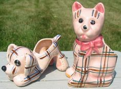 Vtg Pottery Cat Dog Pink Plaid Japan Planter Vases Set 2 Stuffed Animal Look Old  | eBay