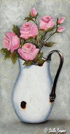 "Jumbobecher Teebecher XL Dekor ""English Rose"" Brillant Porzellan Vegan L Art Floral, Pictures To Paint, Vintage Flowers, Painting Inspiration, Flower Art, Watercolor Paintings, Gouache Painting, Beautiful Flowers, Creative"