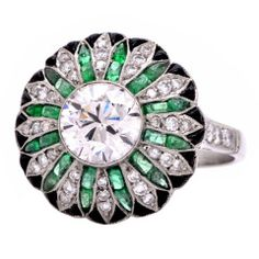 2.55cts Diamond Emerald Onyx Platinum Cocktail Ring