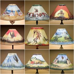 Hand painted southwestern shade in warm red turquoise and gold tops rustic painted rawhide lamp shades for southwest decorating aloadofball Images