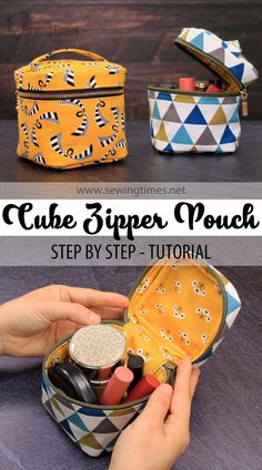Makeup Bag Tutorials, Sewing Tutorials, Diy Makeup Bag, Bag Patterns To Sew, Sewing Patterns Free, Quilted Purse Patterns, Small Sewing Projects, Sewing Crafts, Zippered Pouch Tutorial