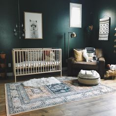 ALLLL about these dark moody walls in this boho nursery. Image: 2019 ALLLL about these dark moody walls in this boho nursery. Image: The post ALLLL about these dark moody walls in this boho nursery. Image: 2019 appeared first on Nursery Diy. Green Nursery Girl, Dark Nursery, Aztec Nursery, Boho Nursery, Baby Nursery Decor, Nursery Neutral, Nursery Room, Nursery Ideas, Project Nursery
