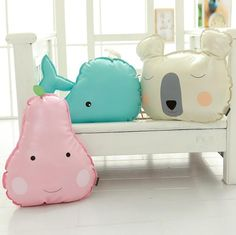 1pc Creative PU Stuffed Pillow Cute Whale, Cactus, Pear& Bear Sofa Cushion Decoration Toys Children's Gift Doll Kids Gift