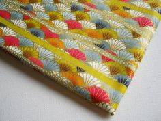 Kimono Cotton Fabric ,Japanese Traditional Fan Gold Yellow pink blue white, KM019, Plate mat, pillow cover, saucer, wedding party supply
