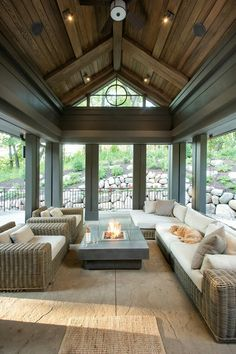 Must have a screened in porch! Screened in Porch paint color, Screened in porch with stained shiplap ceiling and dark trim painted in Sealskin Sherwin Williams Hendel Homes Style At Home, Veranda Design, Patio Design, Shiplap Ceiling, Vaulted Ceilings, Ceiling Windows, Dark Ceiling, Ceiling Trim, Wood Ceilings