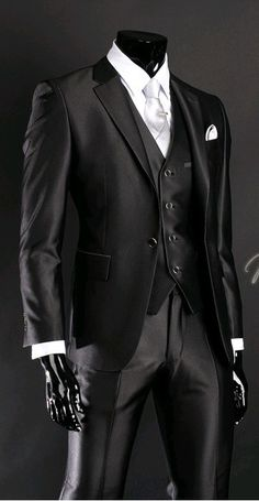 2016 Newest Groom Tuxedo Groomsmen Shiny Black Wedding/Dinner/Evening Suits…