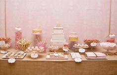 Blush and gold dessert display