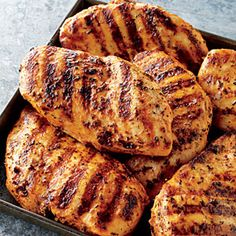 Get perfectly tender, juicy grilled chicken breasts by marinating the chicken in a simple mixture of olive oil, fresh lemon juice, and herbs and grilling over direct medium heat. Going to make this!