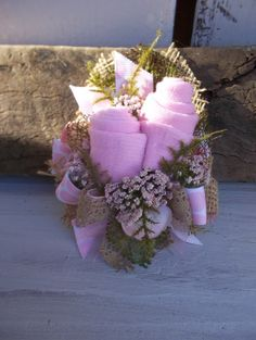 Pink  Socks Baby Shower Corsage with Burlap and Polka Dots