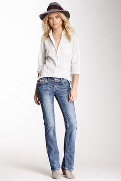 Grace In LA Denim Sapphire Sequin Pocket Bootcut Jean by Non Specific on @HauteLook