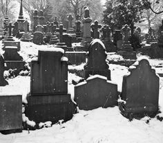 cemetery in the snow.