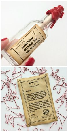A letter from Santa in an elf-sized bottle.