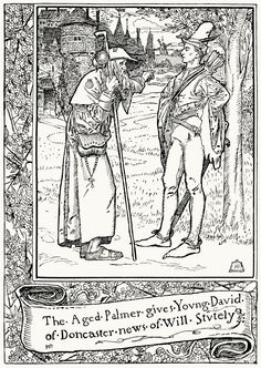 The aged palmer gives young David of Doncaster news of Will Stutely.  From The merry adventures of Robin Hood, written and illustrated by Howard Pyle, New York, 1892.  (Source: archive.org)