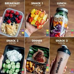 Quick and Simple 21 Day Fix Meal Prep for the - Calorie Level / Breakfast: 1 cup oatmeal (made from ½ cup rolled oats) with 3 tsp. peanut butter and 1 cup fresh berries purple, 2 yellow, 3 tsp.) Snack Avocado Toast with Tomatoes made wit Healthy Drinks, Healthy Eating, How To Eat Healthy, Easy Healthy Lunch Ideas, Healthy Smoothie Recipes, Simple Healthy Meals, Healthy Foods, Healthy Late Night Snacks, Easy Healthy Meal Prep