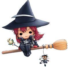 Cute Witches - Halloween Cartoon Clip Art