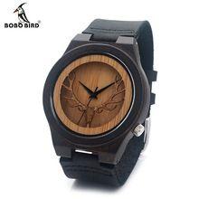 BOBO BIRD Deer Head Skeleton Design Ebony Wooden Quartz Watch Mens Womens Timepiece with Genuine Leather Band in Gift box