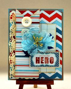 patriotic card using Xyron and WRMK