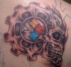 PITTSBURGH STEELERS~Skull Steelers tattoo