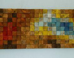Large Wood Wall Art wood art mosaic 2016 colour by ArtGlamourSligo