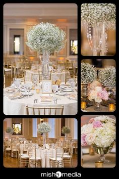chicago history museum wedding | catherine and eddie, tall baby's breath wedding centerpieces