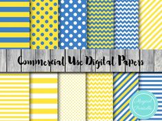 minions digital papers, yellow and blue digital papers
