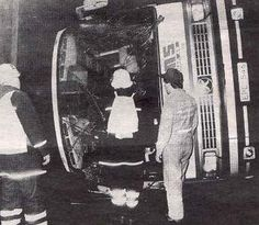 October 2nd 1983: Due to the driver losing control on a wet and slippery road Agnetha's bus got into an accident and Agnetha was thrown through a window. Slightly injured but shocked she was photographed afterwards.