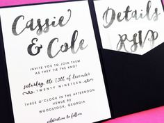 Wedding Invitation  Watercolor Brush Script by LittleSparkCreations #weddinginvitations #weddings