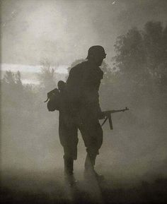German soldier fighting on the front. Ostfront