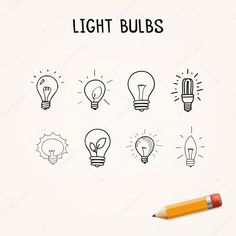 Set of Hand-drawn light bulbs, doodle icons