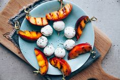 These grilled nectarine and goats cheese kebabs make for a super easy nearly no cook party snack. Cook Party, Kebabs, Canapes, Party Snacks, Perfect Party, Goat Cheese, Starters, Food Art, Super Easy