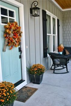 Front door paint color: Festoon Aqua by Sherwin-Williams Siding: Earl Gray by Sherwin-Williams New Every Morning  See more exterior paint colors See more Sherwin-Williams paint colors  And don't forge