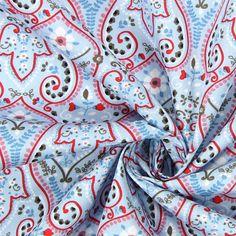 Cotton Ornament Blumen 2 - Baumwolle - hellblau