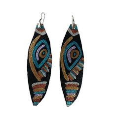 Whimsical Tribal Bohemian Print Painted Leather Statement Earrings Painted on black leather. The color combination of the painted design include metallic gold, metallic turquoise, metallic silver, metallic lavender, and bronze. Sliver-plated pewter closure. Stainless steel ear wires