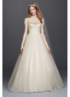 Oleg Cassini Off the Shoulder Tulle Wedding Dress CWG733