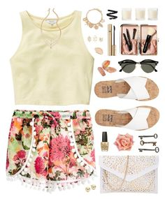 """""""Drops of Jupiter"""" by charcharr ❤ liked on Polyvore featuring Quiz, Talula, Billabong, Jayson Home, OPI, Ray-Ban, Charlotte Russe, Shabby Chic, Forever 21 and Lord & Taylor"""