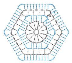 Hexagon crochet diagram da camiseta