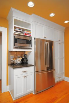 fridge built-ins, coffee station Kitchen Dining, Kitchen Cabinets, Kitchen Appliances, Kitchens, California Bungalow, Big And Small, Walk In Pantry, French Door Refrigerator, Built Ins