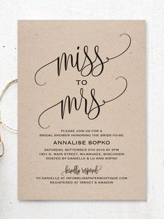 """These DIY bridal shower invitations with rustic template printables boast black calligraphed """"from Miss to Mrs"""" script for an elevated look."""