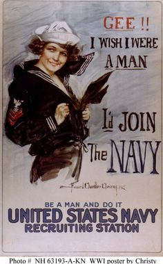 E. LeRoy Finch was the model used in this recruiting poster made during World War I. Mrs. Finch, during that time, was of much assistance during one of the the Navy's most important time of recruitment. She was even given a plaque in 1977 specifically for what she contributed. http://www.history.navy.mil/photos/arttopic/pstr-rec/nrp-w1a.htm