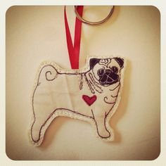 Pug Dog Fabric Key Ring / Bag Tag / Key fob by BeaglenThread, £3.50