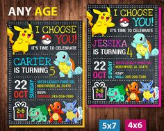 Pokemon Invitation for Birthday Party. This listing is for the creation and delivery of high resolution JPG DIGITAL FILE 300DPI (digital file invitation only). No physical product will be shipped. ORDERING PROCESS *** Purchase this listing and complete checkout. *** Write at NOTE TO SELLER in checkout process the following information: - Size (4x6 or 5x7) - Name - Age - Date & Time - Location - RSVP/Regrets Only *** I will send you a final file within 12 hours or less after receiving this...