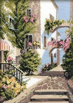 The Italian Courtyard Counted Cross Stitch Kit - x 10 Count Cross Stitch House, Beaded Cross Stitch, Counted Cross Stitch Kits, Cross Stitch Flowers, Cross Stitch Embroidery, Funny Cross Stitch Patterns, Cross Stitch Designs, Italian Courtyard, Cross Stitch Gallery