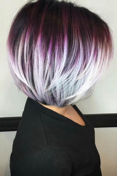 Purple Bob With White Highlights, Super cute!Purple Bob With White Highlights - More for the transition idea rather than the colorsawesome 20 Layered Bob Styles: Modern Haircuts with Layers for Any Occasion.I would love to do this Bob Haircut with Bo Modern Haircuts, Modern Hairstyles, Hairstyles Haircuts, Cool Hairstyles, Short Haircuts, Hairstyle Men, Newest Hairstyles, Wedding Hairstyles, Hairstyle Images