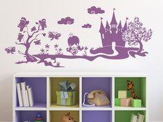 Beautiful Zuckers e Landschaft mit Prinzessin und Schlo als Wandaufkleber f rs Kinderzimmer
